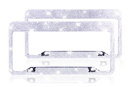 Bling Bling Rhinestone License Plate Frame for Women Girl Tag Plate Frame for Car 2 Pack with 8 Row Crystal Rhinestones in Gift Box by ZATAYE (Car License Plate Frame Bling compare prices)
