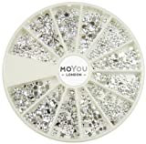 Nail Art MoYou Silver Moon Rhinestone Pack of 1000 Crystal Premium Quality Gemstones in 12 different shapes and sizes, beauty accessory for women nails, fun and easy to apply with top coat or nail glue