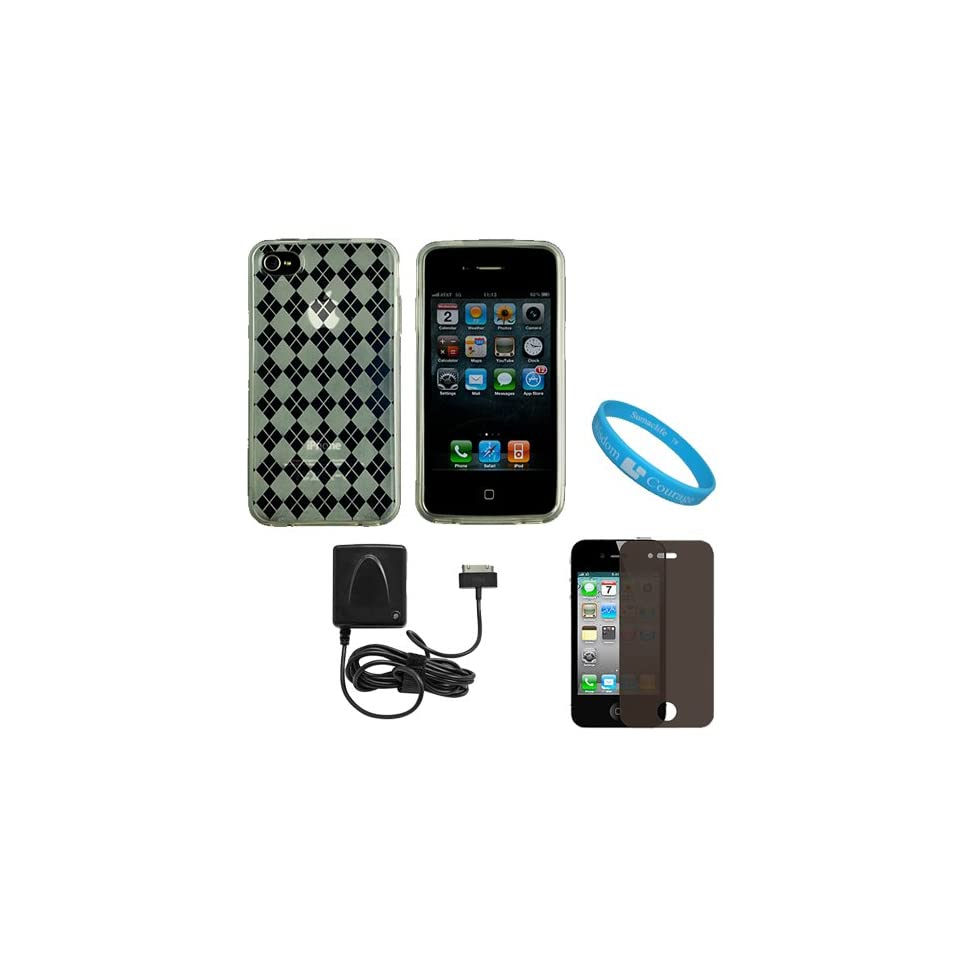 Clear Argyle Premium Rubberized Protective TPU Silicone Skin Cover Case for Verizon Wireless iPhone 4 (16GB, 32GB) 4th Generation and AT&T iPhone 4 + Privacy Screen Protector for Apple iPhone 4 LCD Display Screen + Apple Licensed Cellet Home Charger With F