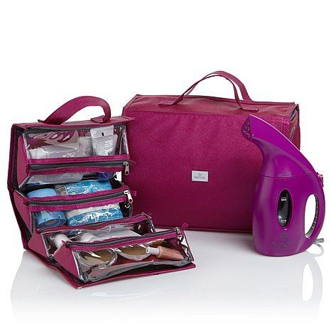 Joy Mangano 900-Watt Go Mini Steamer & Better Beauty Case Deluxe Set Purple Orchid