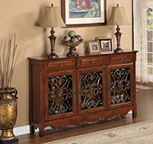 Powell Walnut 3-Door Scroll Console