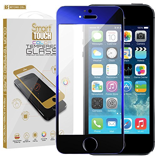 Beyond Cell iPhone 5c/5/5s 9H Hardness Tempered Glass Screen Protector with 0.4mm Slim Glass and Oleophobic Coating - Retail Packaging - Dark Blue