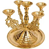 Exotic India Five-Wick Yali Lamps - Brass Statue
