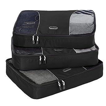 eBags Large Packing Cubes - 3pc Set (Black)