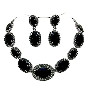 Black Gray Rhinestone Pavé Gunmetal Necklace Chandelier Earring Set Affordable Pageant Evening Jewelry