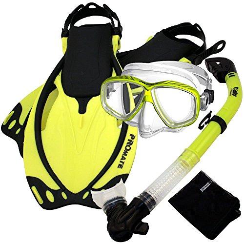 PROMATE Snorkeling Scuba Dive DRY Snorkel PURGE Mask Fins Gear Set, Yellow, S/M (Snuba Gear compare prices)