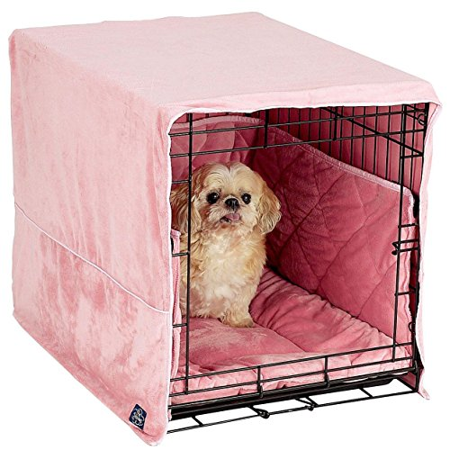 pet dreams plush dog crate pad crate cover and bumper set pink xsmall from pet dreams