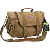 Evecase Large Canvas Messenger DSLR Digital Camera Bag with Rain cover and Removal laptop and camera insert - Brown