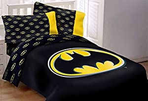 Batman Emblem 4 Piece Reversible Super Soft Luxury Twin Size Comforter Set