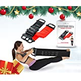 """Resistance Bands - Set of 2 With Handles - Upper Body Band 31"""" Lower Band 52""""- Ideal for Pilates & Physical Therapy - For Men & Women To Increase Flexibility - Includes Exercise Booklet - (Black, Red)"""