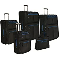 Nautica Maritime II 5 Piece Expandable Wheeled Luggage Set - Black/ Bright Blue