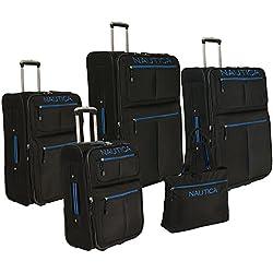 Nautica Maritime II 5 Piece Expandable Wheeled Luggage Set - Black/ Bright Blue