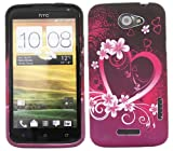 ITALKonline ProGel BLACK PINK HEART WHITE RED Super Hydro Gel TPU Protective Armour/Case/Skin/Cover/Shell for HTC One X OneX