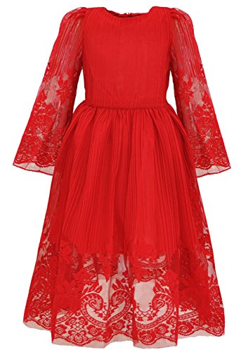 Bonny Billy Girl's Classy Embroidery Lace Maxi Flower Girl Dress 5-6 Years Red