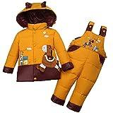 ZAMME Newborn Baby Girl Boys Hooded Down Coat+Snow Pants 2pcs Puffer Set