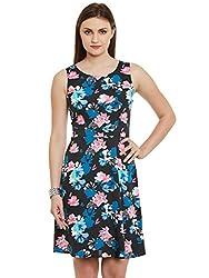 Black Floral Print Poly Crepe Dress