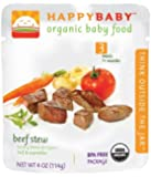 Happybaby Organic Baby Food, Stage 3, Beef Stew, 4-ounce Pouch