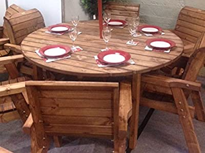 Hgg Round Wooden Garden Table And 6 Chairs Dining Set Outdoor Patio Solid Wood Garden Furniture
