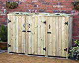 Ingarden Wheelie Bin Storage For 3 Bins. Wheelie Bin Cover Screens In Tannelised Pine