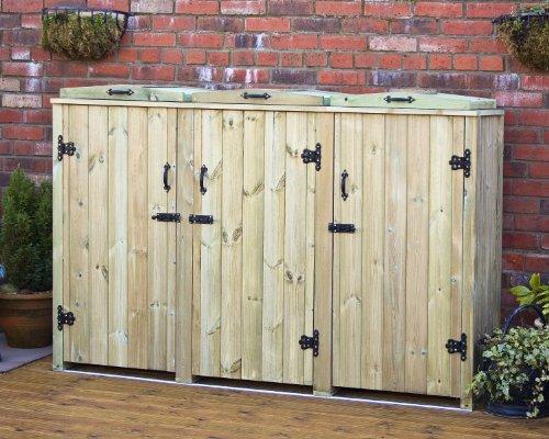 Ingarden Wheelie Bin Storage For 3 Bins. Wheelie Bin Cover Screens In Tannelised Pine