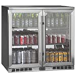 KingsBottle 2-Door Front Venting Full Stainless Steel Bar Fridge