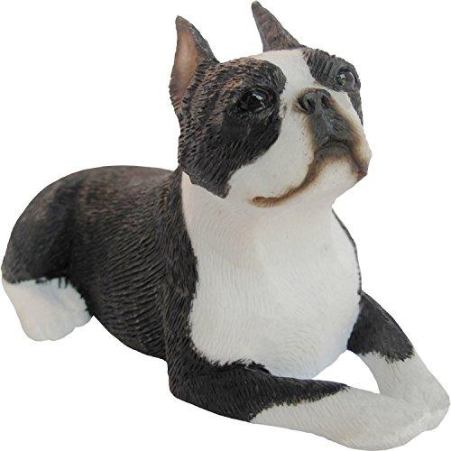 Sandicast Sculpture, Small, Lying Boston Terrier