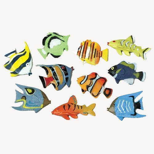 Lot Of 12 Assorted Color And Design Tropical Fish Figure Play Set