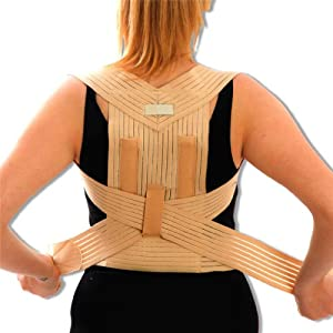 Medical Grade Bad Posture Corrector - Correct Back, Shoulder, Lumbar Problems - Beige Support Brace. Medium = 80 - 90cm