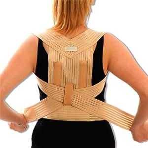 Medical Grade Bad Posture Corrector - Correct Back, Shoulder, Lumbar Problems - Beige Support Brace. Medium = 80 - 90cm