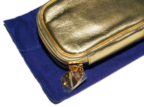 Polo Ralph Lauren Purple Label Collection Gold Leather Italy Makeup Cosmetic Case Tote Purse Bag Wallet