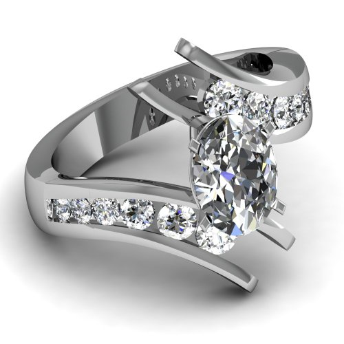 Fascinating Diamonds 1.50 Ct Oval Shape Very Good Cut Diamond Tension Swirl Engagement Ring 14K Gold