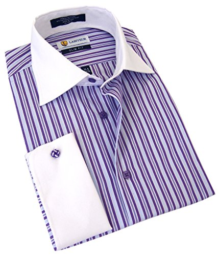 Labiyeur Men's Slim Fit French Cuff Striped Dress Shirt