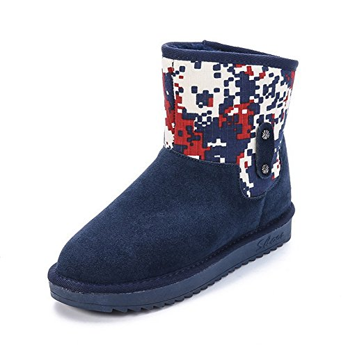 voguezone009-womens-imitated-suede-low-top-assorted-color-pull-on-low-heels-snow-boots-blue-39