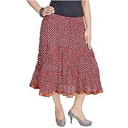 SHREEMANGALAMMART Rajasthani Red Cotton Long Skirt(Red)(SMSKT543)