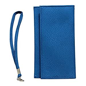 Jo Jo A5 G8 Leather Wallet Universal Pouch Cover Case For Samsung Galaxy Mega I9152 With Dual Sim Card SlotExotic Blue