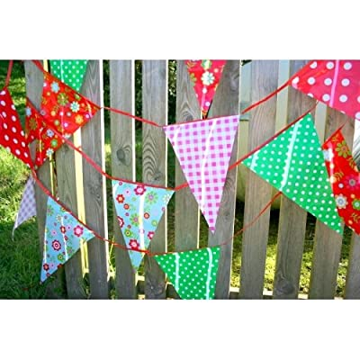Fun Garden Party Vintage Print Plastic Bunting 10 Meters ~ 20 Pennant Flags - Suitable For Indoor Or Outdoor Use