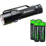Olight S15 Baton XM-L 280 Lumens LED single AA Flashlight EDC with 4 X EdisonBright AA alkaline Batteries