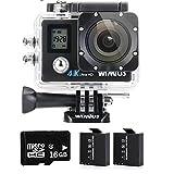 WIMIUS Q4 ウェアラブルカメラ 4K WIFI 液晶ディスプレイ二つ アクションカメラ 防水 スポーツ 16MP アクションカム バイク 自転車 車などに取り付け可能 (ブラック)