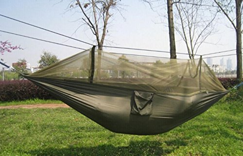douper Parachute Cloth 2 Person Hammock with Mosquito Net Air Tent Army Green & Parachute Cloth 2 Person Hammock with Mosquito Net Air Tent Army Green