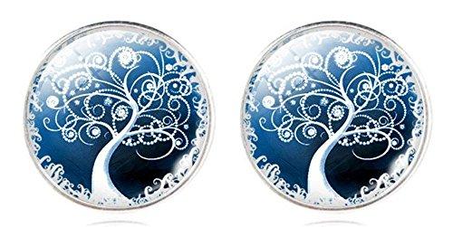 Orecchini artistici, tema: albero, orecchini a lobo con farfalla posteriore, per orecchie forate, lega di zinco, colore: Blue 1, cod. na