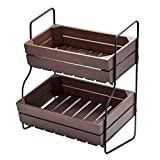 """DII Food Safe 2 Tier Storage Wood & Iron Farmhouse Stand, 14 by 9.25 by 16"""""""