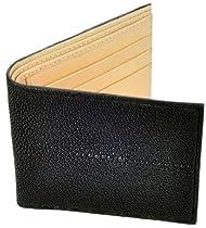 Stingray Leather Bifold Wallet, Black w/ Tan Leather Interior