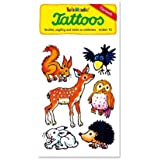 Waldtiere Tattoos (Rehkitz, Igel, Hase, Eichhörnchen, Rabe, Eule) von Lutz Mauder // Kinder Kindertattoo Tatoo Tatto Kindergeburtstag Geburtstag Mitgebsel Geschenk