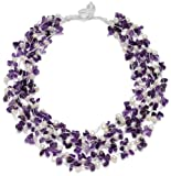 "HinsonGayle ""Gabriella"" 5-Strand Handwoven Amethyst and Freshwater Cultured Pearl Necklace"