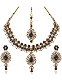 I Jewels Traditional Gold Plated Elegantly Handcrafted Kundan Jewellery Set With Maang Tikka For Women IJ261Mo...