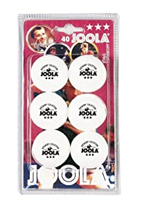 JOOLA ROSSI Three-Star White 40mm Table Tennis Balls, 6-Count