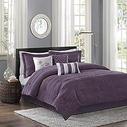 Madison Park Hampton 7 Piece Comforter Set, King, Plum