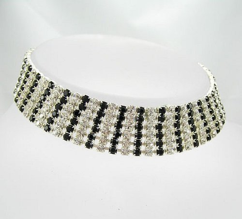 Lj Designs Crystal & Jet Six Row Diamante Choker - Silver Finish - Swarovski Crystal - Swarovski Choker - Prom Jewellery - Ladies Gifts