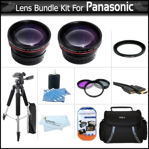 Lens Bundle For Panasonic HDC-TM700K HDC-SD600 HDC-HS700K HDC-SDT750K HDC-TM900 HDC-HS900 HDC-SD800 Camcorder Includes HD 0.45x Wide Angle Lens w/ Macro Lens + HD 2x Telephoto Lens + 3pc Filter Kit (UV-CPL-FLD) + Case + 57 Tripod + HDMI Cable +Much More