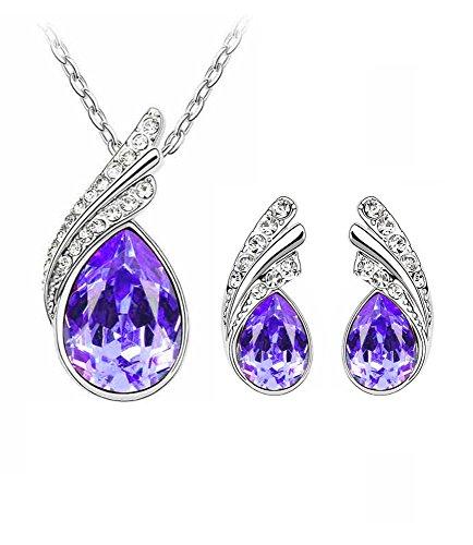 Celebrity Jewellery Purple Water Drop Shape Austrian